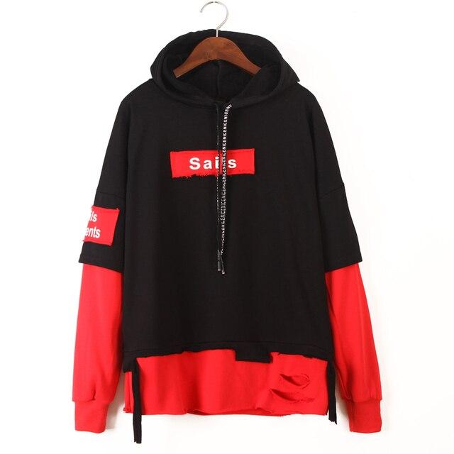 Womens Cool Hoodies harajuku Long Sleeve hooded sweatshirt for women Cotton  tops sweatshirts Pullovers Black Red Hoodie fc5a740628