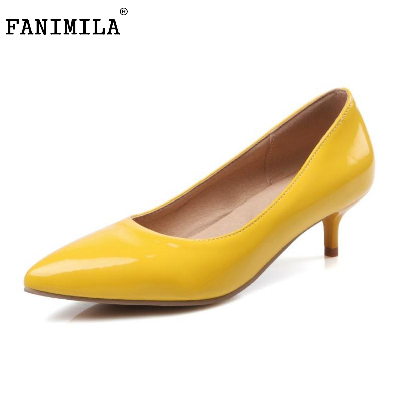 Size 30 45 Women Pointed Toe Low Thin Heel Shoes Woman Fashion Shallow Mouth Heels Pumps
