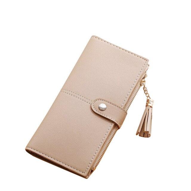 f41de3a81 Xiniu Longo Carteira Mulheres Bolsas de Couro Preto Barato Rosa Bolsa Bolsa  de Dinheiro Cartão Titular