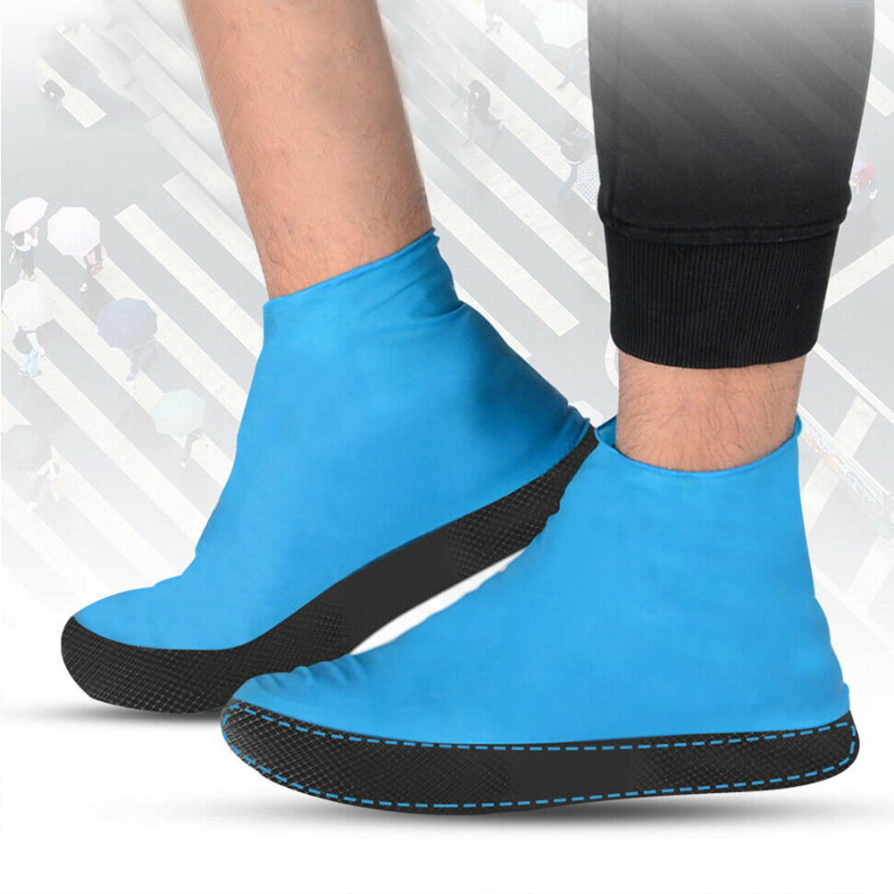 1Pair Anti Rain Emulsion Shoe Cover Portable Reusable Thick Sole Waterproof Foot Wear Travel Accessories Protective Outdoor