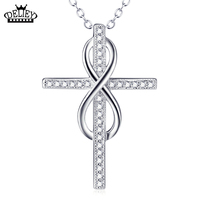 Infinity Cross Faith Forever Pendant Necklace Genuine 925 Sterling Silver Jewelry For Women