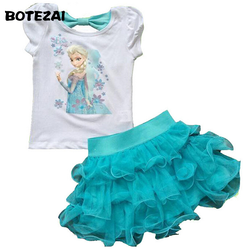 2015 Girls Princess Elsa Dress + T Shirt 2 Pcs Set 3-8Age Sky Blue Layered Tutu Dress Sets