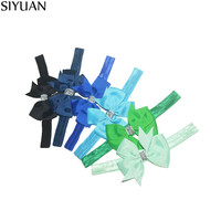 50pcs/lot Artifical Boutique Stretchy Headband With 3'' Grosgrain Bows New Born Kids Baptism Headwear 24 Colors HB006