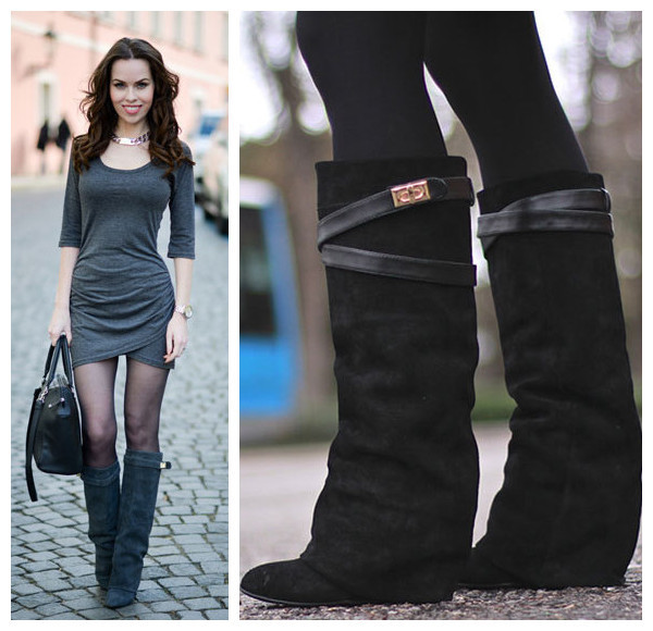 get cheap knee high leather wedge boots aliexpress