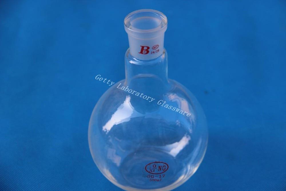 Flat Bottom Flask, Single Neck,500 Ml, Joint 24/29, Heavy Wall (Borosilicate Glass 3.3)
