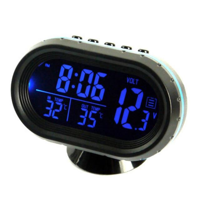12v 24v 3 In 1 Digital Car Clock Thermometer Voltage Meter Lcd
