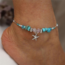 Bohemian Beach Blue Beads Stone Starfish Anklet Silver Color Crystal Chain For Female Jewelry