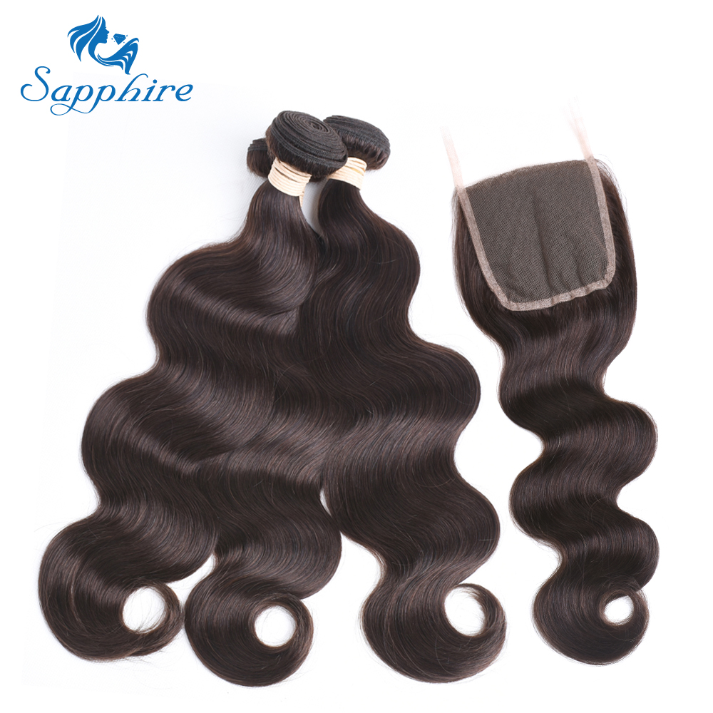 Sapphire Dark Brown 2 Brazilian Body Wave Hair Weave 3 Bundles With Closure Double Weft Remy