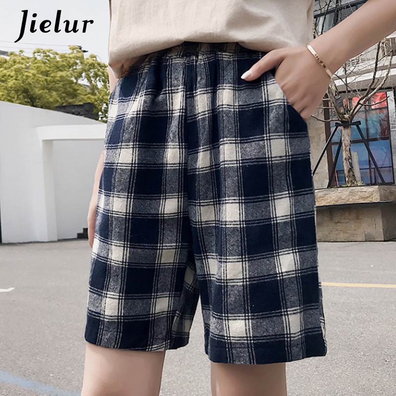 Jielur Plaid Shorts Femme Elastic-Waist Feminino Summer Casual Fashion Women New High