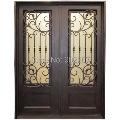 Custom Design Dark Bronze Wrought Iron Entry Door Id12