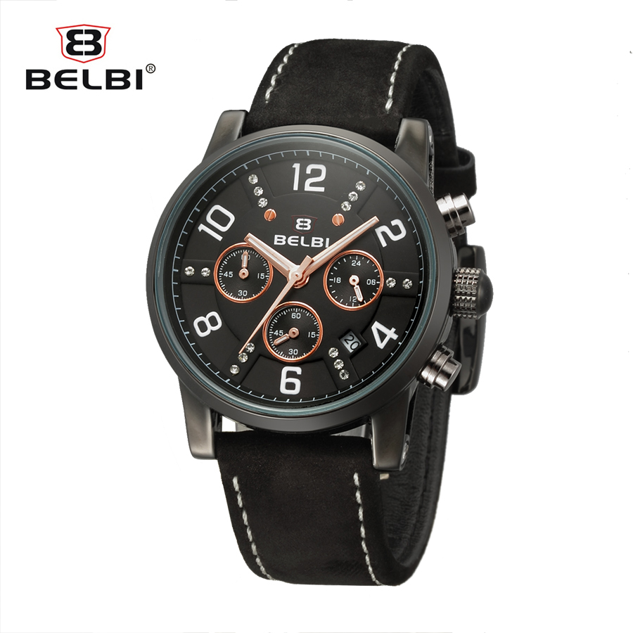 Belbi Chronograph Leather Quartz Men Watch Top Brand Luxury Calendar Sport Watches Male Army  Fashion Black Wrist Watch Relojes hubot elegant classic men s watch dates calendar classical art carved craft design chronograph men sport watches relogios