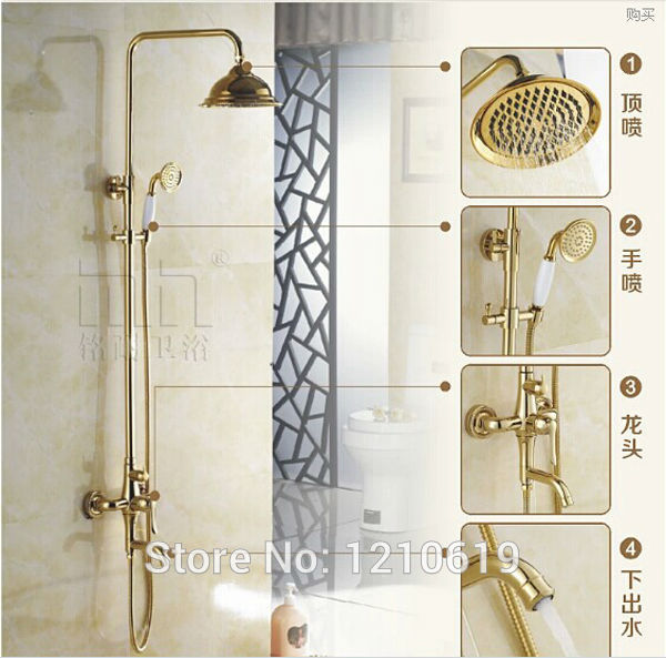 Newly US Free Shipping Wholesale And Retail Luxury Golden Polished Rainfall Shower Faucet Set Ceramics Hand Shower Wall Mounted prosperity ceramics wholesale 56 gift glazed blue and white bone china tableware set grazing return