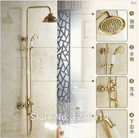 Newly US Free Shipping Wholesale And Retail Luxury Golden Polished Rainfall Shower Faucet Set Ceramics Hand
