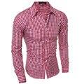 2017 New Fashion Men Cotton Grid Shirt Color Slim Cool Male Shirt Dress Business Shirt Men Long Sleeved Turn Down Collar 5843