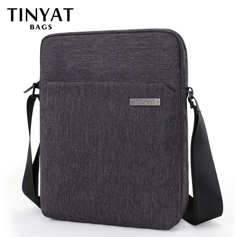 TINYAT Men's Shoulder Bags Canva Bags For Men 9.7'pad Casual Waterproof School Sling Bag Business Men's Crossbody Bag Grey Men's