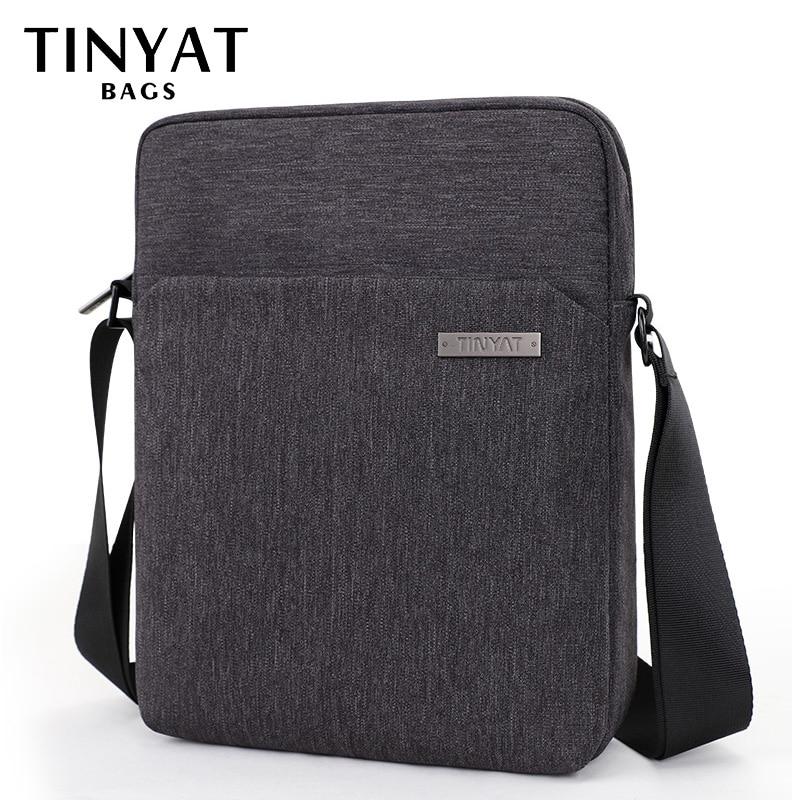 TINYAT Men's Shoulder Bags Canva Bags For Men 9.7'pad Casual Waterproof School Sling Bag Business Men's Crossbody Bag Grey Men's