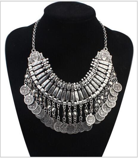 9c7749b4d2 2016 Vintage Crystal Maxi Choker Statement Silver Collier Femme Boho Big  Fashion Women Jewellery Collar ZA Necklaces & Pendants