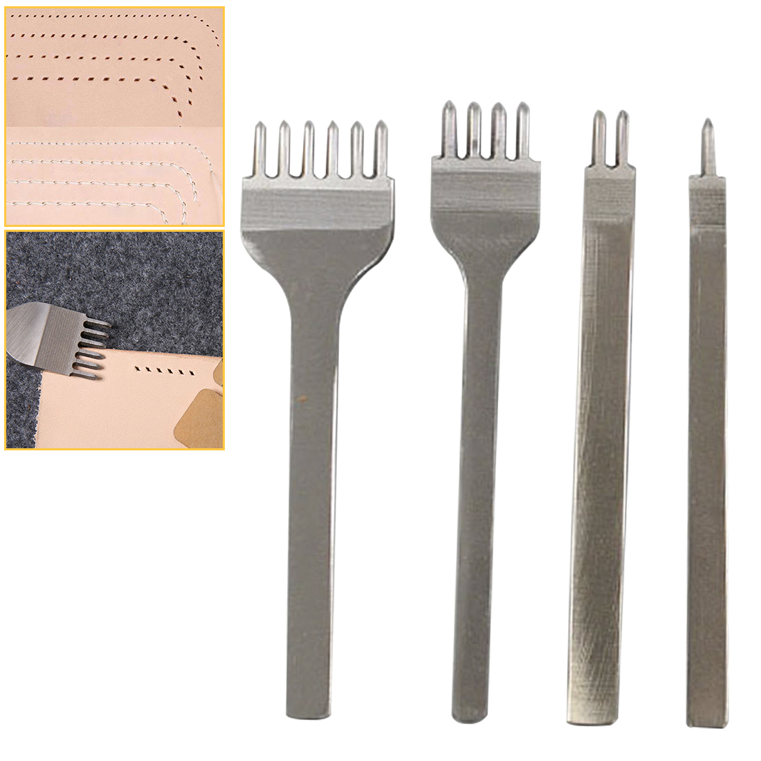 4mm Spacing Leather Hole Punches DIY Handmade Round Stitching Punch Tools Hole Cutter Leather Punching Tool 1 2 4 6 Prong
