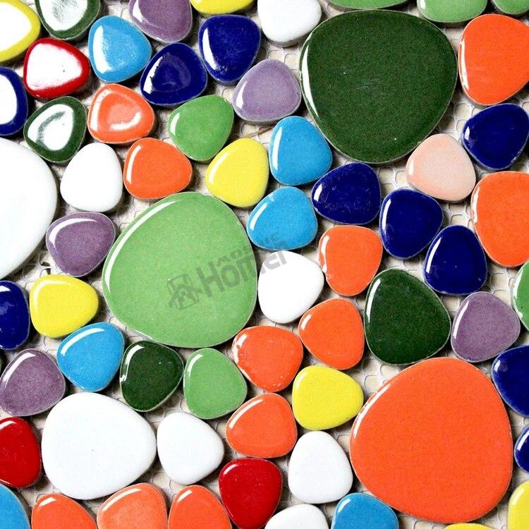 shipping free 12x12 rainbow colorful pebble ceramic mosaic tiles kitchen bathroom floor tiles hme7002 home decoration