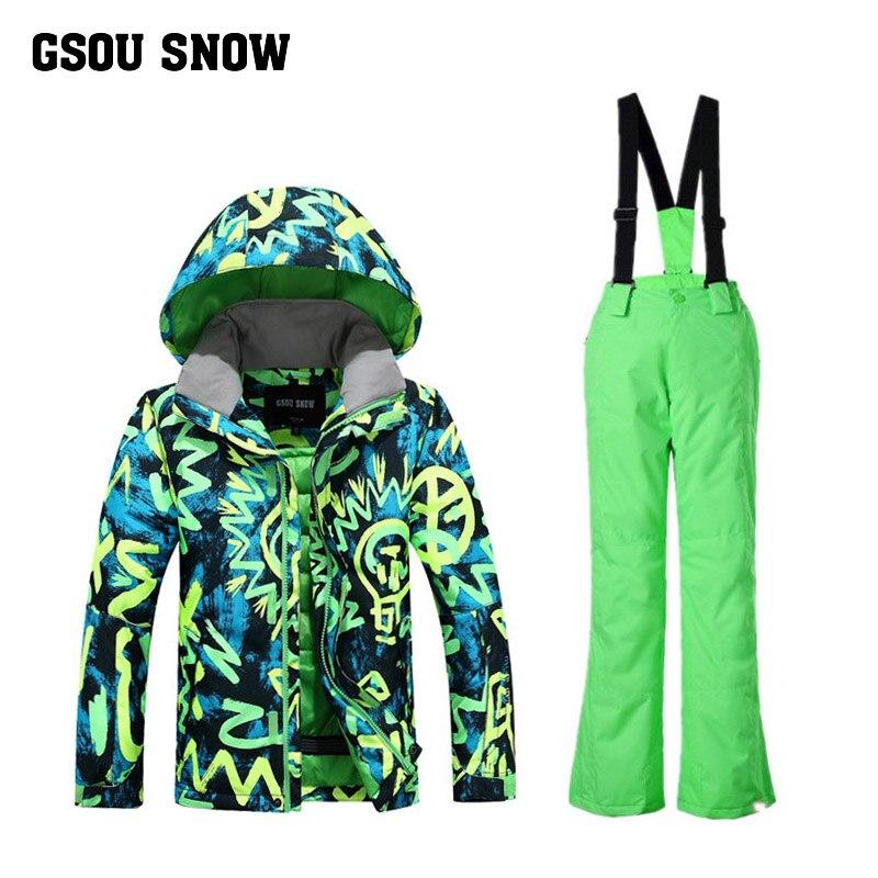 2017 nouveau costume de Ski pour enfants garçon costume de Ski coupe-vent imperméable respirant veste de Ski + pantalon de Ski pour garçons taille XS-M