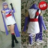 Anime Gintama Sarutobi Ayame Cosplay Costume Full Set Kimono + Đai + Khăn + Handguards + Quần Ngắn + Kính + găng tay