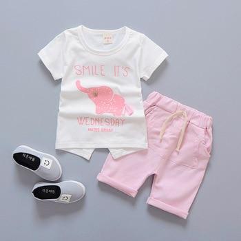 Newborn baby boys smile clothes sets t-shirt +shorts 2pcs 2
