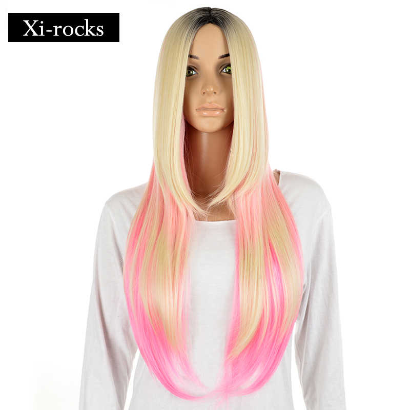 3070 Xi.rocks Party Synthetic Hair for GirlLong Wavy Black Ombre Blonde Mixed Pink Long Striahgt Middle Part Heat Resistant Wigs
