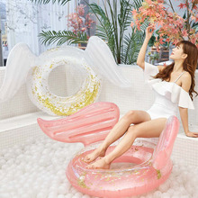 130cm Sequin Inflatable Float Angel Shiny Wing Swim Ring Pool Toy Hawaii Summer Beach Party Decoration Float Mattress Gift Adult angel shiny wing sequin inflatable float 180cm swim ring hawaii summer beach party decoration pool toy float mattress gift adult