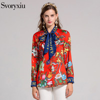 SVORYXIU High Quality Brand Women's Blouse Long Sleeves impressive Printed Bow Casual Shirt