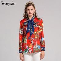 SVORYXIU High Quality Brand Women S Blouse Long Sleeves Impressive Printed Bow Casual Shirt