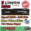 Kingston Hyperx Ярости Игры Игрока рабочего ОПЕРАТИВНОЙ памяти DDR4 8 ГБ 16 ГБ 32 ГБ 2400 МГц Не ECC 288 Pin DIMM memoria компьютер computador