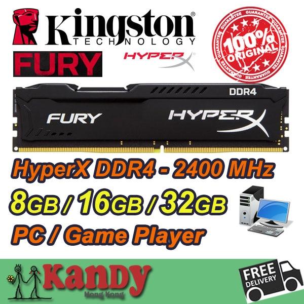 Kingston Hyperx Fury Game Player desktop memory PC RAM DDR4 16GB 32GB 2400 MHz Non ECC 288 Pin DIMM memoria computer computador