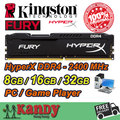 Kingston Hyperx Fury Game Player desktop memory RAM DDR4 8GB 16GB 32GB 2400 MHz Non ECC 288 Pin DIMM memoria computer computador
