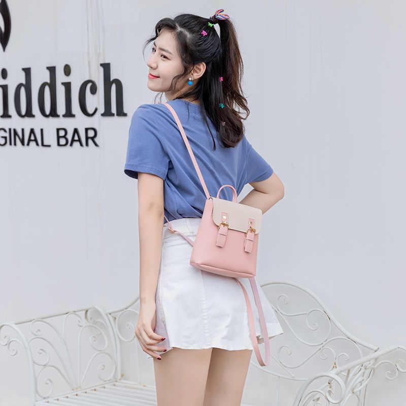 Kecil Wanita Ransel Multi Fungsi Wanita Mini Ransel Bahu Kulit PU Fashion Wanita Tas Selempang untuk Anak Perempuan Remaja