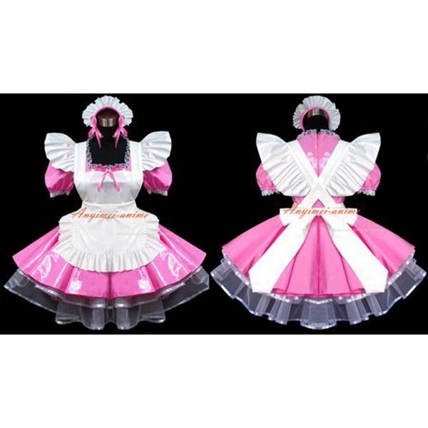 Darmowa wysyłka sexy sissy maid dress pvc dress różowy uniform cosplay  costume zamykane wykonane na zamówienie - Popularne Sissy Dresses- Kupuj Tanie Sissy Dresses Zestawy Od
