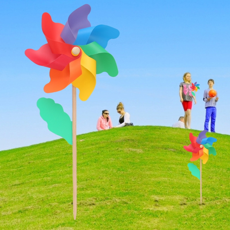 Hot Sale 24cm Wood Garden Yard Party Windmill Wind Spinner Ornament Decoration Kids Toys