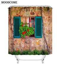 Cortina de ducha de granja, Cortina de ventana de Madera azul Vintage para el baño, tela impermeable de piedra, Cortina de flores verdes