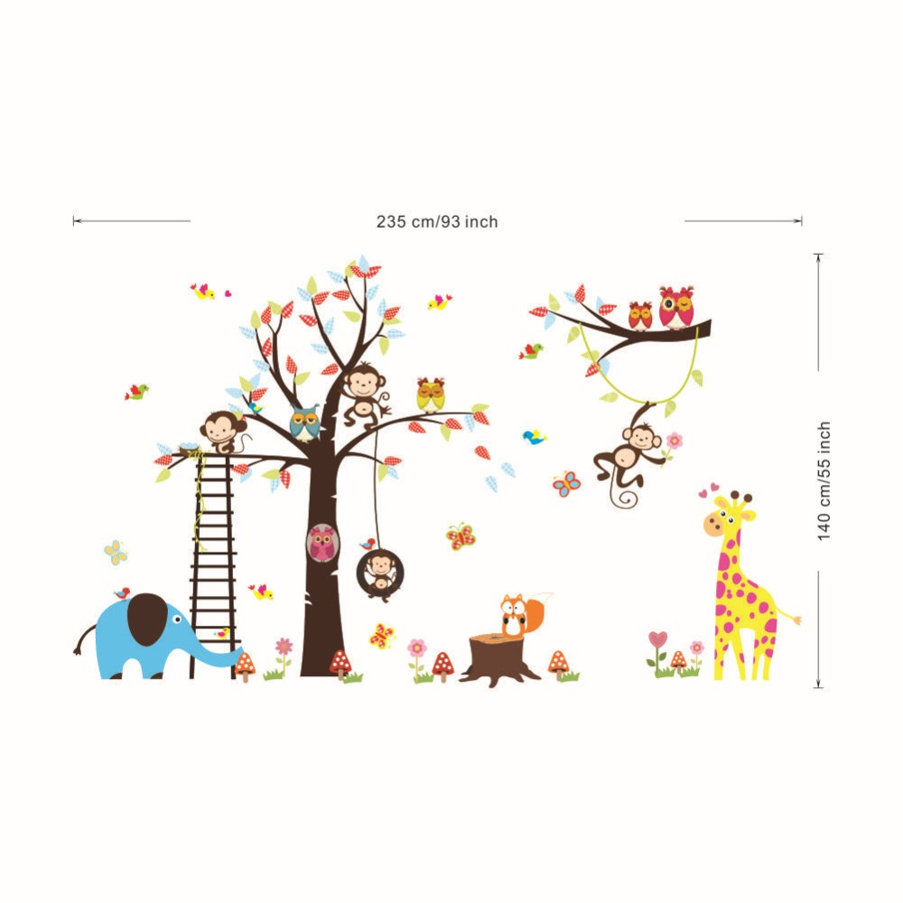 Oversize Wall Decals for Kids Room Nursery Cartoon Giraffe Elephant Owls Money Climbing up Tree along with Ladder Wall Stickers