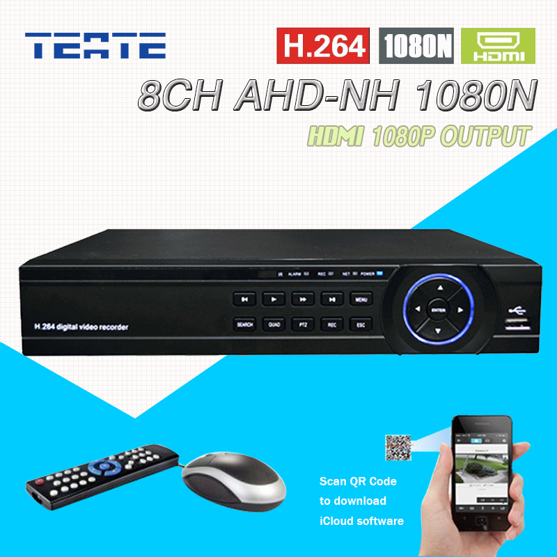 TEATE AHD 8 Channel 720P 1080N H.264 Video Recorder 3 USB Port HDMI Network DVR 8CH CCTV System for Security Camera Surveillance 16 ch 1080n cctv dvr recorder h 264 hdmi network digital video recorder suit anolg ahd cctv camera for home security system