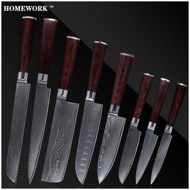 Handmade Damascus Knives Set Slicing Bread Chopper Santoku Chef