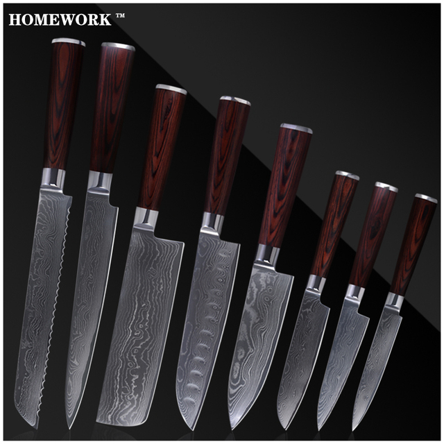Handmade damascus knives set slicing bread chopper santoku chef ...