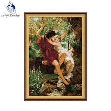 Joy Sunday Needlework Happy time cross stitch love pattern Cross Sets For Embroidery kits Cross-Stitching Wall Home Decro