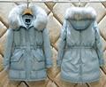 Mujeres de La Manera Real de Pieles Grande Con Capucha Invierno Gruesa Chaqueta Caliente Abajo Ladies Coat 90% de Pato Blanco Delgado de Abrigo Outcoat N1529