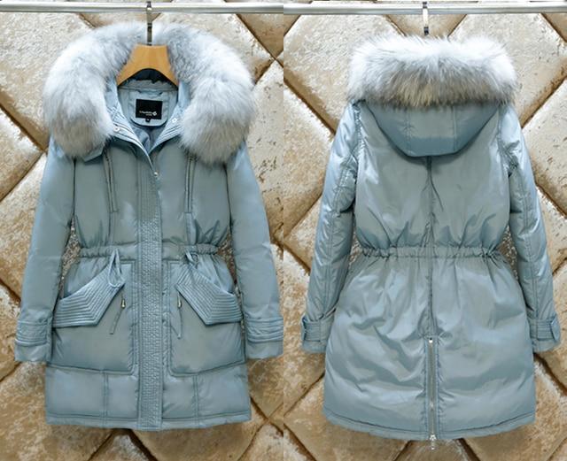 S-2XL Mujeres Moda Real de Pieles Grande Con Capucha de Invierno Gruesa Caliente chaqueta Abajo Ladies Coat 90% de Pato Blanco Delgado de Abrigo Outcoat N1529