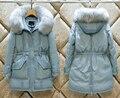 S-2XL Mulheres Moda Real Grande Com Capuz De Pele de Inverno de Espessura Quente jaqueta Senhoras Casaco Para Baixo 90% de Pato Branco Fino Outcoat Outerwear N1529