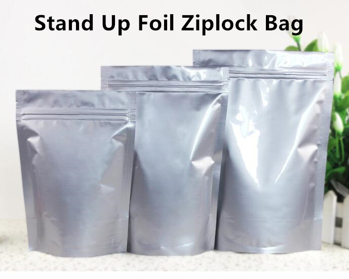 Retail 30PCS LOT Large Size Aluminum Foil Ziplock Bag Stand up Zip Lock Food Packaging Bag