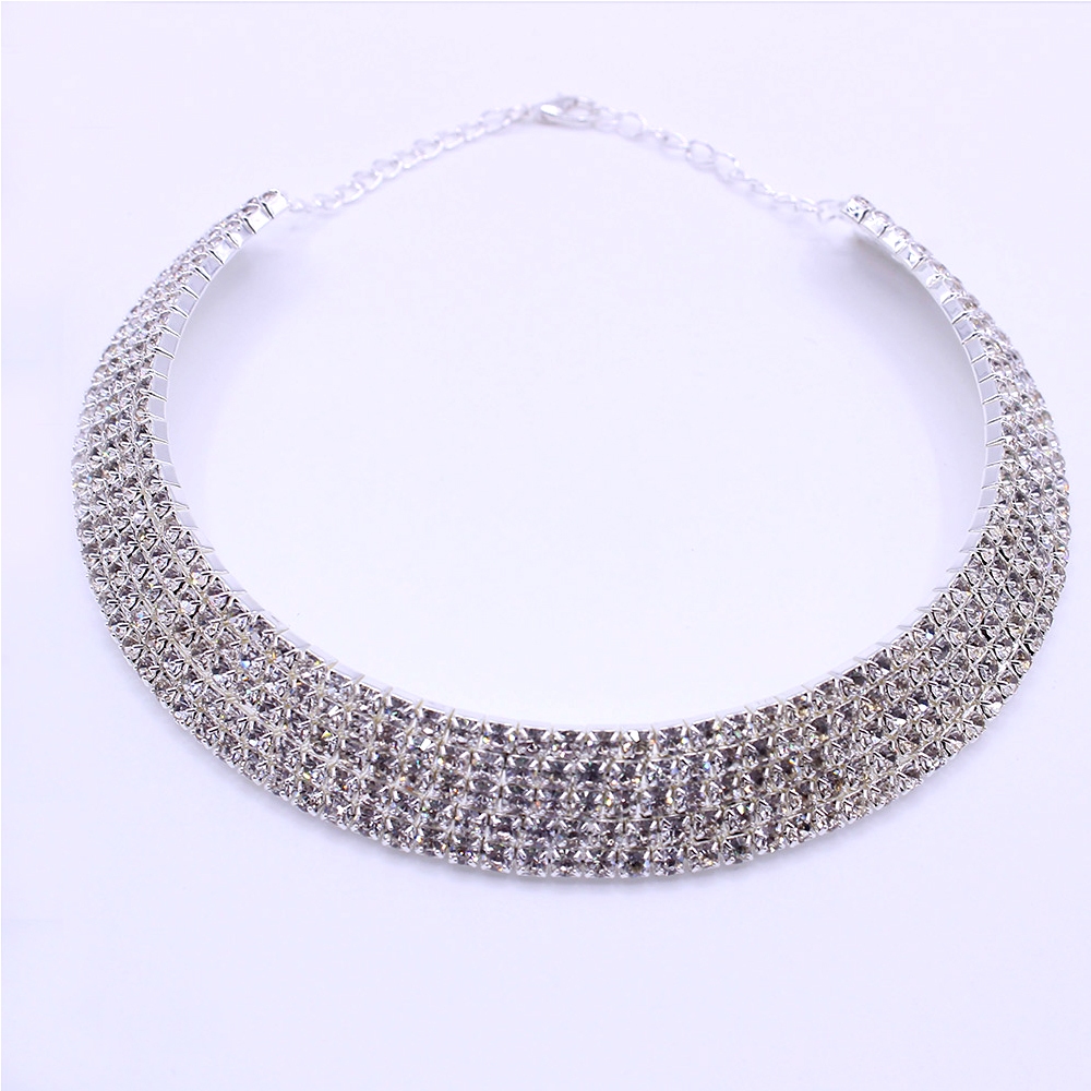 Clearance Sale Women Rhinestone Choker Necklace Silver Color Bridal Crystal  Wide Strand Collar Choker Chain Necklaces Jewelry-in Choker Necklaces from  ... e3a0064c8ec5