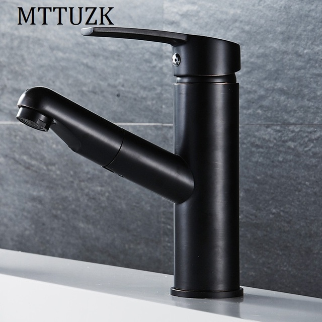 Mttuzk Pull Out Gold Black Orb Kitchen Faucet Copper Sink Nickel Brushed Mixer