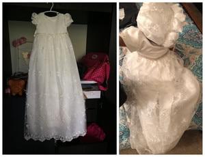Image 5 - HAPPYPLUS fildişi prenses elbise bebek kız vaftiz elbiseler kat uzunluk uzun elbise için bebek duş vaftiz elbise bebek kız
