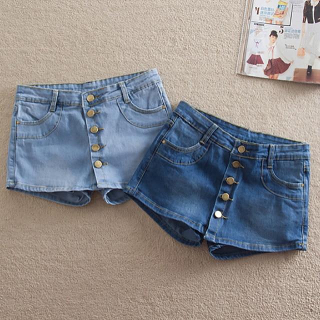 2017 летний новый женской моде джинсовые шорты юбки пряжки дикий юбка Тонкий тонкий Корейский прилив короткие джинсы девушки